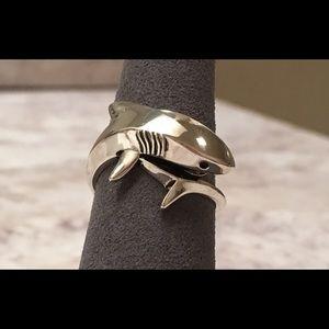 Sterling Silver Shark Black CZ Ring
